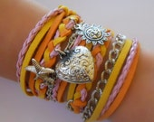 SUMMER braided bracelet or anklet orange, pink, yellow, sun, heart, starfish charms, wrap around, friendship bracelet or anklet
