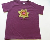 Girl's Organic Eggplant T-shirt with Flower Applique: Size 4 Toddler