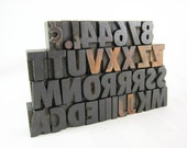 35 Piece Vintage Wood Letterpress Type for Printing - 2.5 cm Geometric Gothic Letters Numbers Punctuation