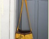Dachshund handbag, original lino print fabric