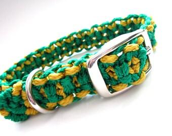 Green and Gold Medium Dog Macramé Collar