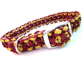 Garnet/Burgundy/Dark Red and Gold Medium Dog Macramé Collar