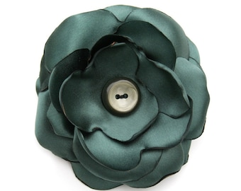 Sale St. Patrick's Day Hunter Green Fabric Flower Brooch, Sash, Corsage, Hair Pin or Clip: Agnes