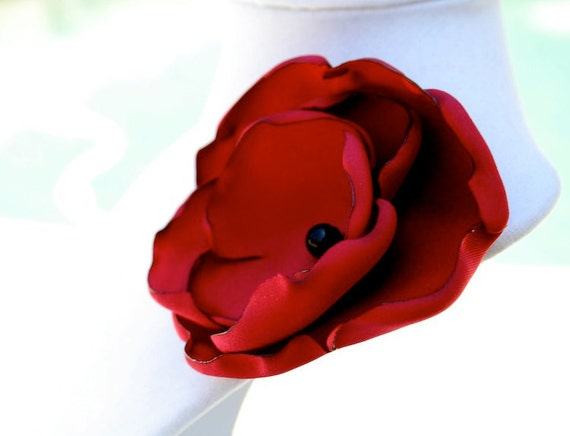 Red Fabric Flower Brooch, Hair Pin, or Clip