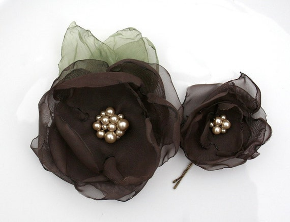 SALE Brown Fabric Flower Hair Clip and Hair Pin: Charlie