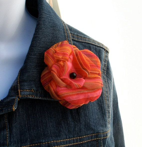 SALE Orange and Pink Fabric Flower Hair Clip and Brooch: Juliette
