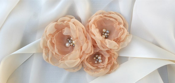 Bridal Sash: Peachy-Nude Colored Fabric Flower Wedding Accessory, The Leah Flower