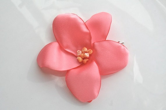 Plumeria Flower Hair Pin in Coral