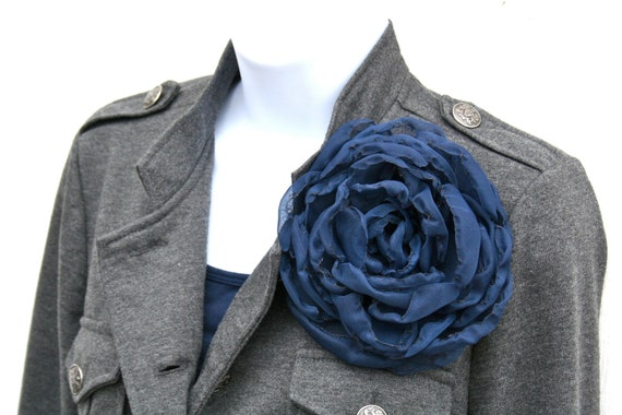 Large Navy Blue Fabric Flower can be used as a Hair Clip, Brooch or Sash