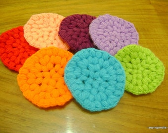7 Pcs Cotton Crochet Round Facial Scrubbies...Crochet Pattern...Crochet Face Cloth