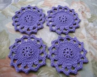 4 Pcs Handmade Cotton  Crochet  Coaster... Kitchen Accesories...Cotton Crochet Pattern...Purple