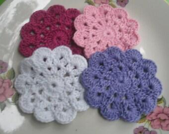 4 COTTON  CROCHET  Coaster...White, Purple, Pink and Burdungy...