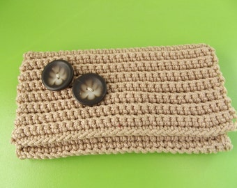 Crocheted Little cute Purse...Light Brown  very practical coin purse...Pouch closes with a decorative snap.
