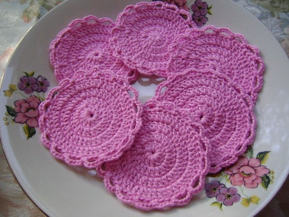 6 Pcs Cotton Crochet Round Facial Scrubbies...Crochet Pattern...Crochet Face Cloth