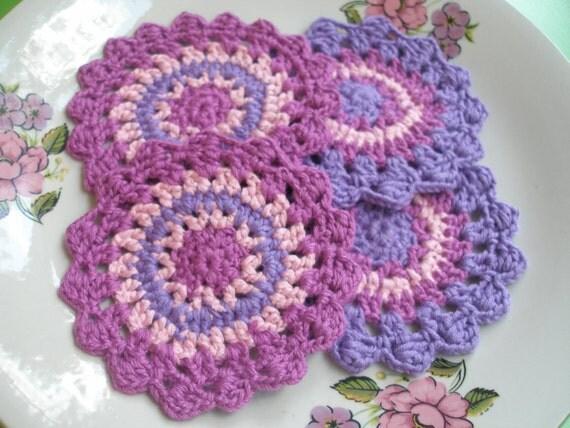 4 Pcs Handmade Cotton  Crochet  Coaster Set... Kitchen Accesories...Cotton Crochet Pattern