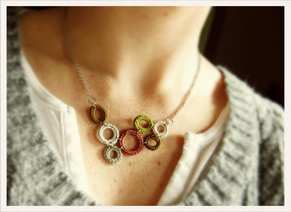 Crochet Abstract Hoop Necklace - FREE SHIPPING ETSY