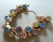 Pastel Color Rhinestone Bracelet with Matching Earrings