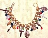 Fragments Chapelet - Magical Relics - Unique Designer Charm Bracelet - Vintage and Antique Charms