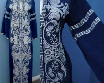 Vintage 1960s 1970s Long Blue MAXI Hippie ETHNIC Embroidered Tunic Caftan Dress