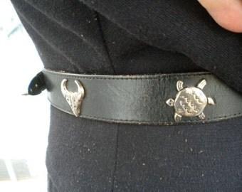 Vintage Black Leather Western Silver Creek Animal Belt