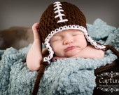 Baby Football Hat with Earflaps and Braided Ties, Brown, You Choose Size- Preemie, Newborn, infant