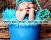 Baby Pixie/Elf Hat with Twisted Tail and Pom Pom, Shades of Green and Blue, You Choose Size, Available in Many sizes