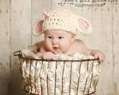Little Lamb Baby Hat, Cream and Light Pink-You Pick Size,Preemie, Newborn, Infant