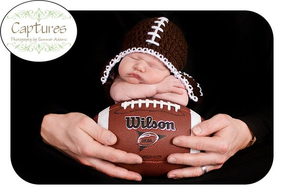 Baby Football Hat with Earflaps and Braided Ties, Brown, You Choose Size- Preemie, Newborn, infant, Todder