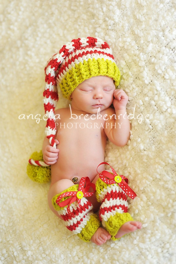 Baby Elf Hat and Leg Warmer Set,  Green, Red and White,You Choose size, Newborn Infant 3-6 months,