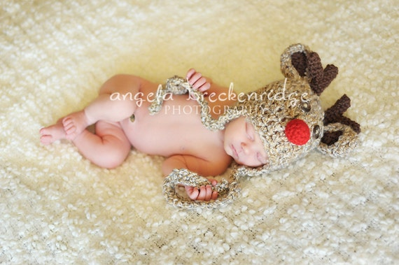 Baby Rudolph The Red Nose Reindeer Hat with Earflaps and Braided Ties, You Choose Size, Preemie, Newborm, 3-6 mo