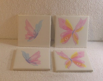 Butterfly Coasters - Pink, Blue and Yellow - set of 4
