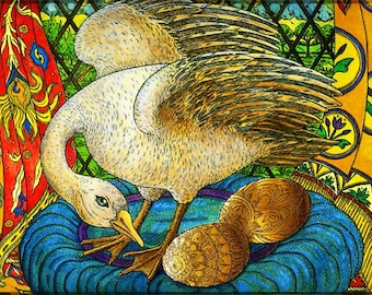 Fine Art Greeting Card, The Golden Eggs, Hand Made, Archival Reproduction of an original watercolor etching.