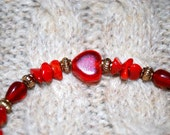 Reddish Orange Heart Bracelet