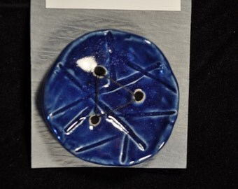 Large Cobalt Carved Button