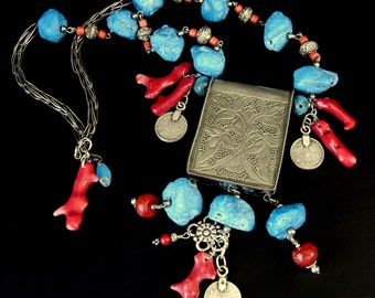 TIBETAN SILVER, Coral, and dyed blue Howlite (Faux Turquoise) Pendant necklace inspired by Global Influences // lw30