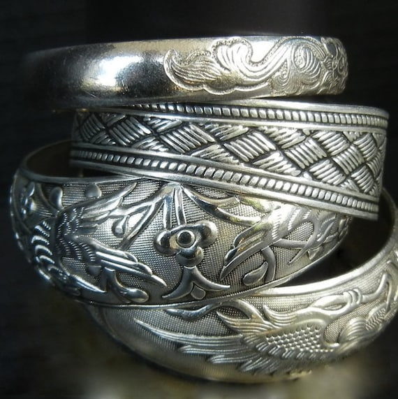 Collection of FOUR Tibetan Silver Expandable Bracelets