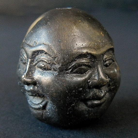 Four Emotional Faces of the Esteemed BUDDHA / Oxidized Black Distressed Tibetan Metal BEAD or PENDANT
