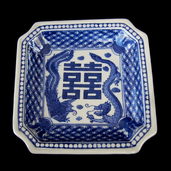 Blue and White Shallow Plate with Phoenix and Dragon Symbols and notched corners