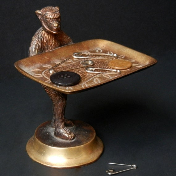 "BRASS MONKEY Trinket / Business Card Tray  /  5 1/2"" Tall"