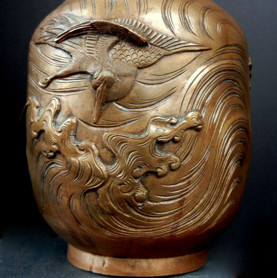 """Tall High Relief Rare Vase with Cranes / Dragons / Symbolic surging Waves / 10"""""""