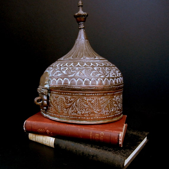 """Exotic, Maroccan Influenced  round container box  in mysterious material / 9 1/2"""" high"""