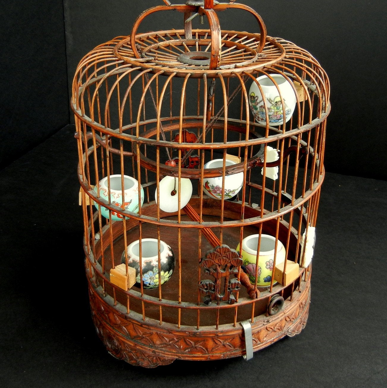 Vintage Chinese Bird Cage With Hand Painted Seed And Water