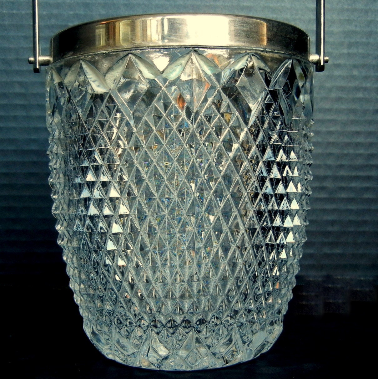 Mini Glass Ice Bucket With Silver Plate By Eclectibleparts4u
