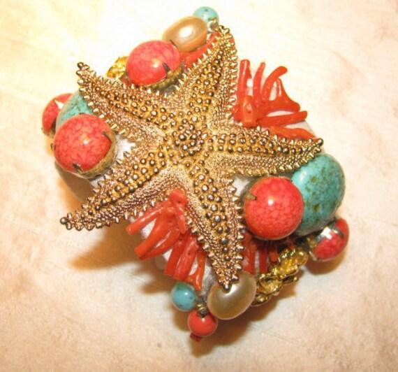 Starfish Coral Orange Blue Ocean Beach Statement Vintage Costume Jewelry Summer At The Beach Cuff Bracelet