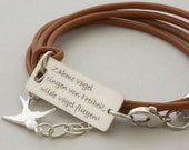 Wild birds fly .. Swallow .. your Custom Words or quote .. sterling silver/leather .. Handmade Jewelry .. longitude latitude .. BFF bracelet