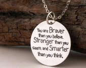 """Gift for Graduate """"You are braver than you believe"""" 925-silver necklace/key ring Handmade Jewelry .. inspirational quote positive jewelry"""