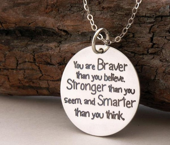 "Gift for Graduate ""You are braver than you believe"" 925-silver necklace/key ring Handmade Jewelry .. inspirational quote positive jewelry"