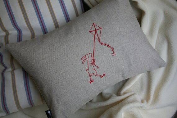 Lumbar Pillow Cover - Breezy Bunny - 12x16 Embroidered Red Rabbit & Kite on Oatmeal Linen