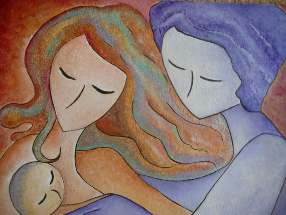 "FREE SHIPPING Family oil painting impasto ""A family"" original by Gioia Albano"