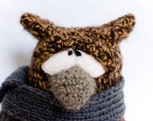 Wise owl in the scarf - author unique toy FREE SHIPPING everywhere